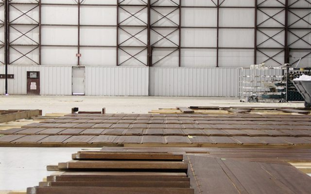 Inside a warehouse with building materials laid out