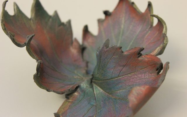Autumn leaves made from clay