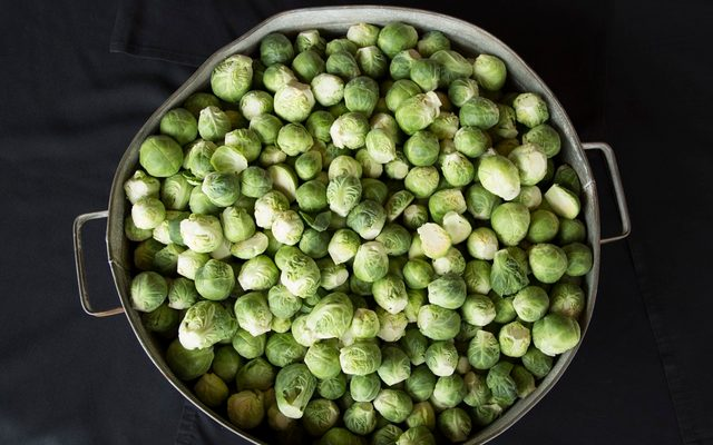 Fresh Brussel sprouts in large pot