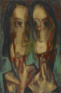 Alfred H. Maurer (1868-1932) Two Heads ca. 1928 Oil on canvas laid down on board