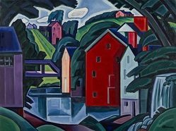 """Oscar Bluemner (1867-1938) """"Motive of Space and Form - A New Jersey Village"""" 1915 Oil on canvas."""