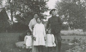 Louise Bourgeois, at right, with her sister, brother, and parents.