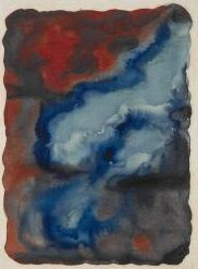 """Georgia O'Keeffe, """"Red and Blue No. I,"""" 1916 Watercolor on paper"""