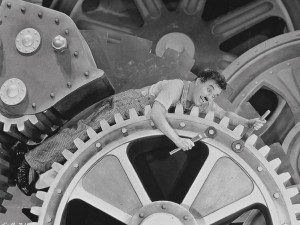 """Chaplin in one of the most famous and memorable scenes from """"Modern Times."""""""