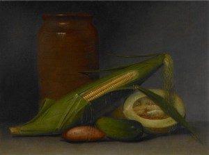 """Raphael Peale, 1774 - 1825 """"Corn and Cantaloupe,"""" ca. 1813 Oil on panel"""