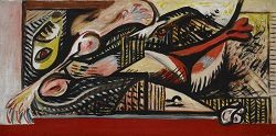 "Jackson Pollock (1912-1956) ""Reclining Woman"" ca. 1938-1941 Oil on canvas"
