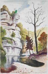 "Thomas Hart Benton, ""Buffalo River,"" 1968, Watercolor and pencil on paper mounted on board"