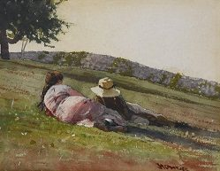 """Winslow Homer, """"On the Hill,"""" 1878, Watercolor on paper"""