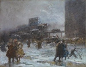 "Everett Shinn ""Cooper Square,"" ca. 1900-1908 Pastel on paper. Crystal Bridges Museum of American Art"