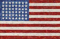 Jasper Johns Flag, 1983 Encaustic on silk flag on canvas 11 5/8 in. × 17 1/2 in.