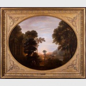John Taylor, A Wooded Classical Landscape at Evening with Figures in the Foreground, 1772. Oil on canvas. Crystal Bridges Museum of American Art.