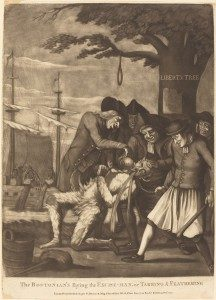 Attributed to Philip Dawe (British, c. 1750 - c. 1785 ), The Bostonian's Paying the Excise-Man, or Tarring & Feathering, published 1774, mezzotint on laid paper, Paul Mellon Collection