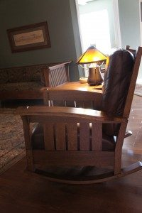 This Mission style rocking chair built by Williams contains no nails. In the background, an original Stickley sofa looks right at home.