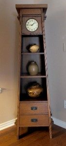 This bookcase and clock combination is a variation Myron Williams created on a classic Stickley design.