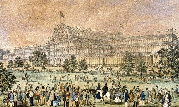 """Arch Expo. """"The Great Exhibition at Crystal Palace, 1851."""" Colored lithograph by Augustus Butler © Science & Society Picture Library/Getty Images. Accessed August 23, 2016."""
