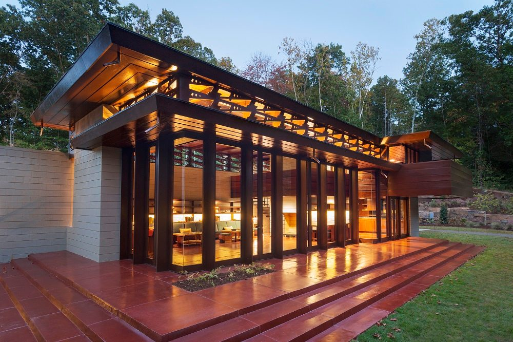 Back view of Frank Lloyd Wright's Bachman-Wilson House at Crystal Bridges Museum of American Art. Photo by Nancy Nolan