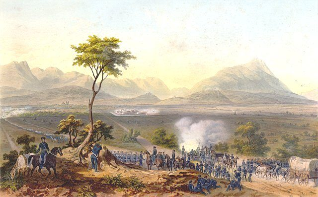 US troops marching on Monterrey in northern Mexico during the Mexican-American War in 1851