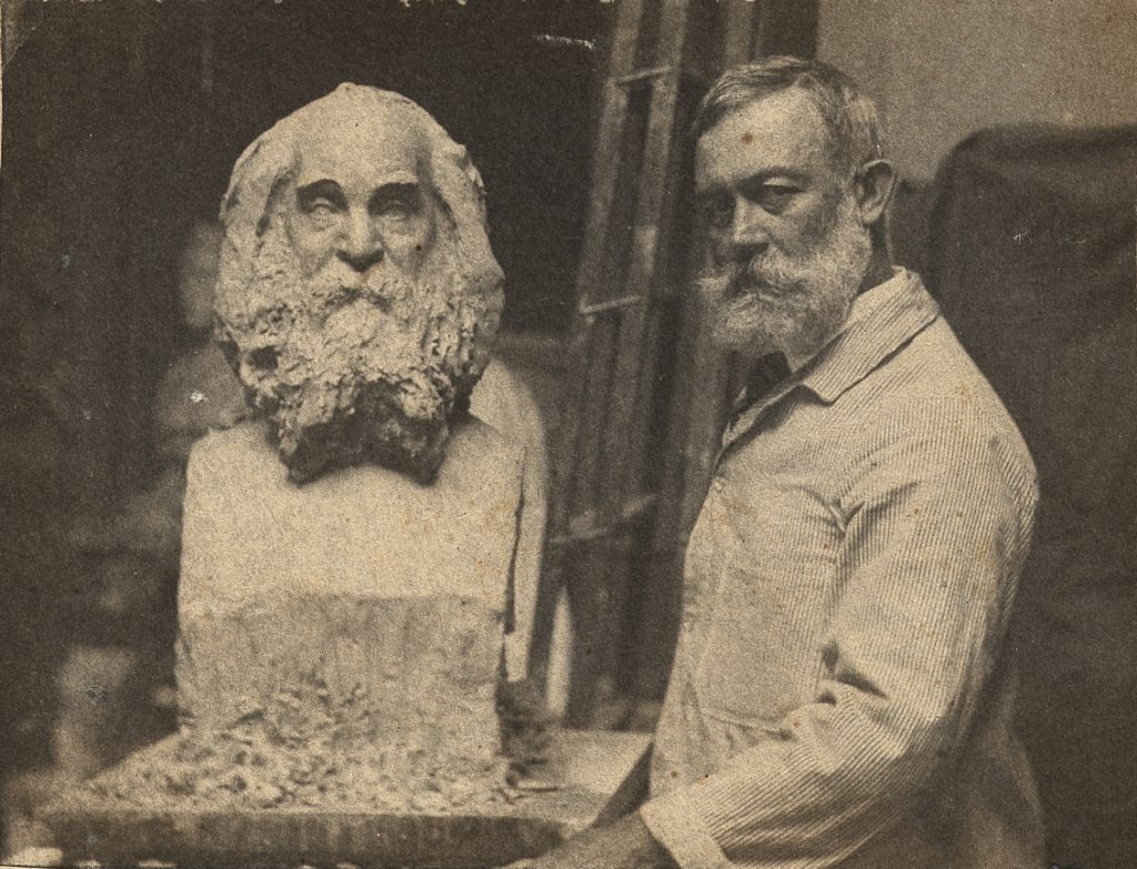 William O'Donovan with his bust of Walt Whitman, ca. 1891