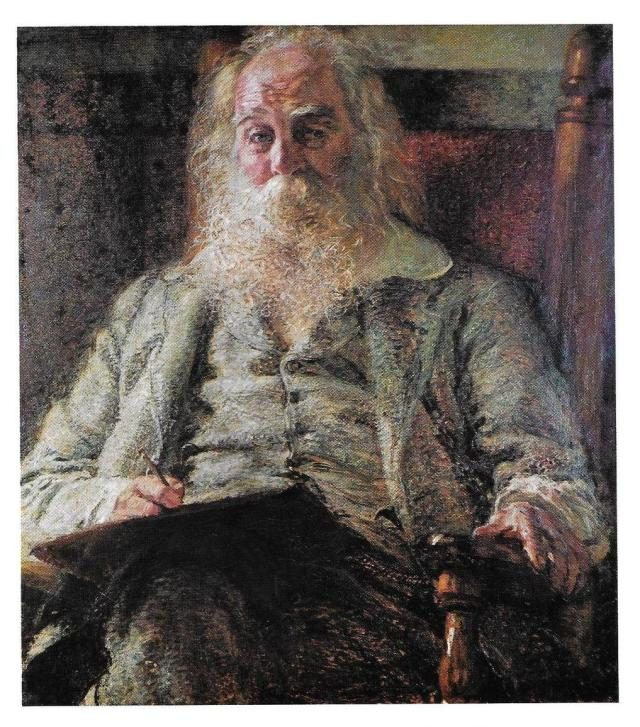 Herbert Gilchrist's portrait of Whitman, 1887. Held in the collection of the Smithsonian's National Portrait Gallery.