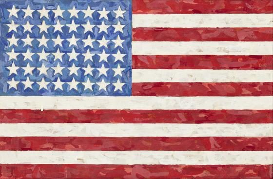 Jasper Johns, b. 1930<br />Flag, 1983<br />Encaustic on silk flag on canvas<br />Crystal Bridges Museum of American Art, Bentonville, Arkansas