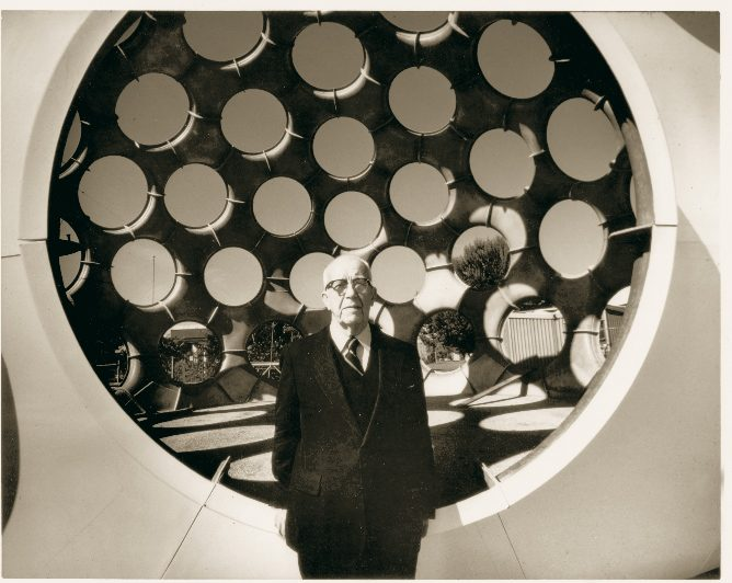Buckminster Fuller in front of the 50-ft Fly's Eye Dome now installed on the Crystal Bridges north lawn.