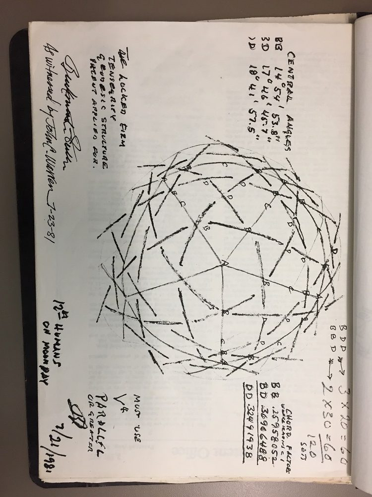 One of many sketches from the archive of the Fly's Eye Dome in development
