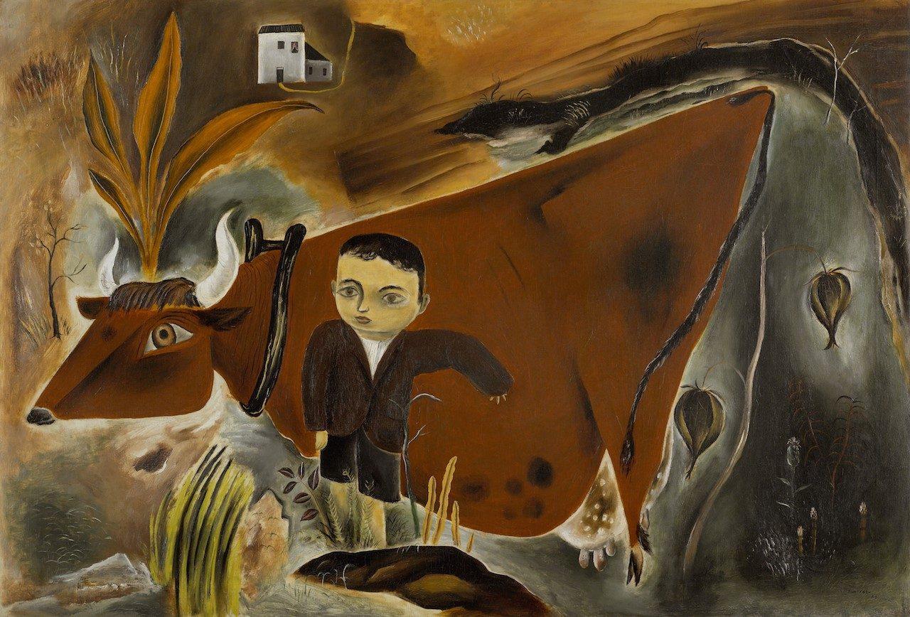 Yasuo Kuniyoshi, (1889 - 1953)<br />Little Joe with Cow, 1923<br />Oil on canvas<br />Crystal Bridges Museum of American Art, Bentonville, Arkansas