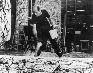 Hans Namuth, image of Jackson Pollock painting, 1950