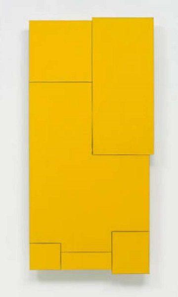On Yellow Wood (2003) Acrylic on birch plywood construction 47 1/3 x 23 ¼ x 2 ⅝ in. Courtesy Marsha Mateyka Gallery, Washington, DC.