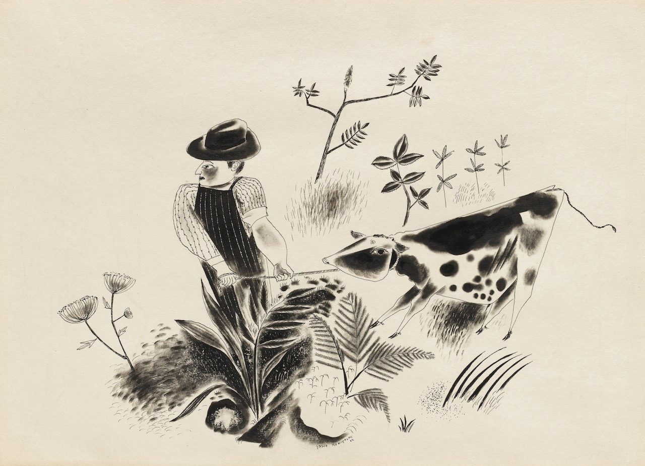 """Yasuo Kuniyoshi, """"The Calf Doesn't Want To Go"""" (1922), ink on paper (courtesy the Museum of Modern Art, © The Museum of Modern Art"""
