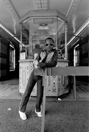 Dawoud Bey, Born 1953 A Boy in front of the Loew's 125th Street Movie Theater, 1976 Gelatin silver print The Art Institute of Chicago