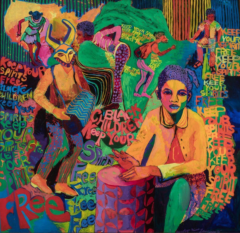 Carolyn Lawrence, born 1940 Black Children Keep Your Spirits Free, 1972 Acrylic on canvas