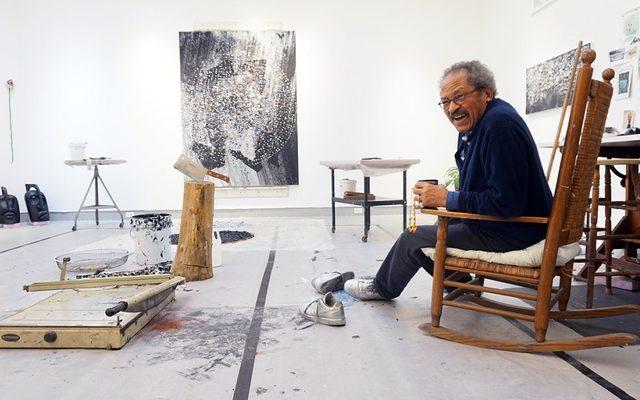 Jack Whitten in his studio
