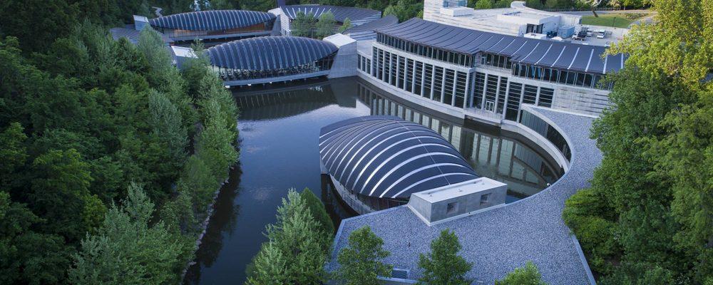 Overhead view of Crystal Bridges Museum of American Art