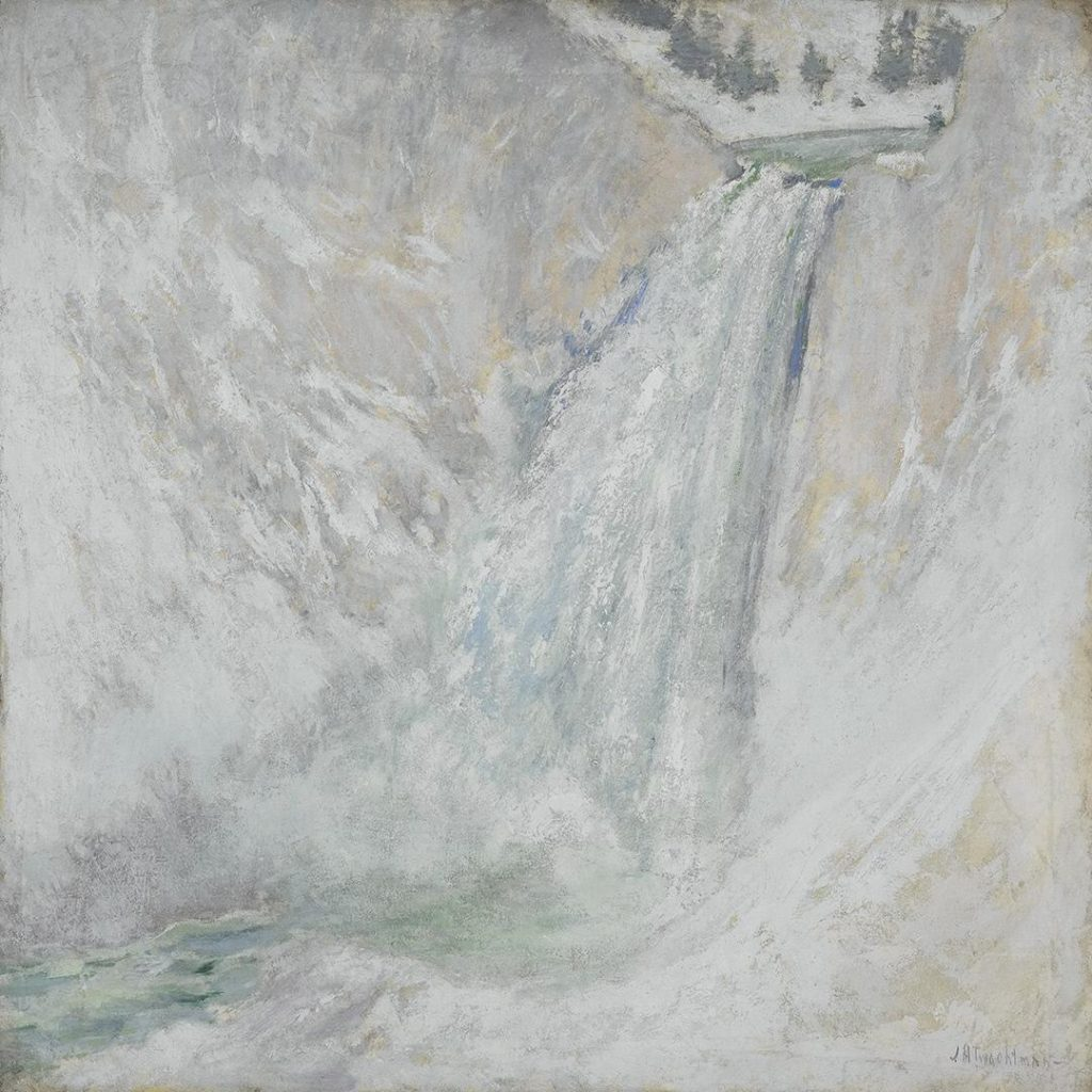 "<a href="" https://collection.crystalbridges.org/objects/107/lower-falls-of-the-yellowstone?ctx=5a5aa240-b220-4972-9f8b-3bf8eebe6ce2&amp;idx=0""></a> John Henry Twachtman, ""Lower Falls of the Yellowstone,"" 1985. Oil on Canvas, 30 x 30 in. Crystal Bridges Museum of American Art."