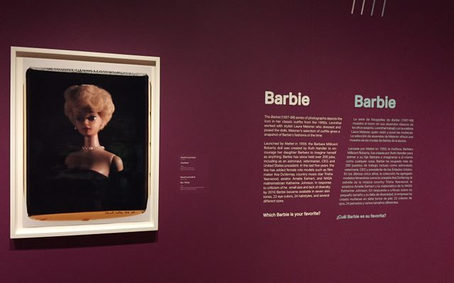 Artwork of Barbie hanging in gallery with wall label beside it