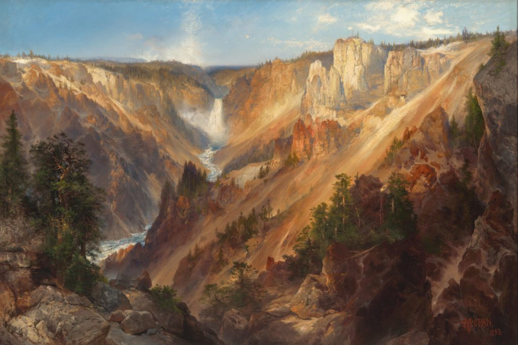"""Thomas Moran, """"Lower Falls, Yellowstone Park (Grand Canyon of the Yellowstone),"""" 1893. Oil on canvas. 39 5/8 x 59 1/2 in. Gift of Thomas Gilcrease Foundation, 1955 Gilcrease Museum, Tulsa, Oklahoma."""