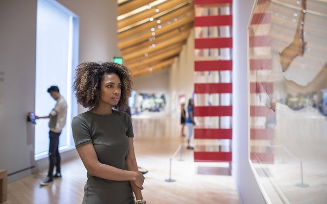 Woman stands looking at an artwork in front of her hung on the wall
