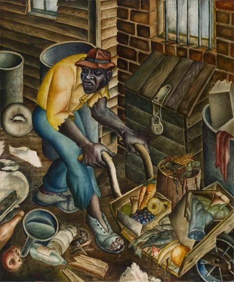 John Biggers, The Garbage Man, 1944, 40 × 33 in. (101.6 × 83.8 cm), oil on panel, Crystal Bridges Museum of American Art.