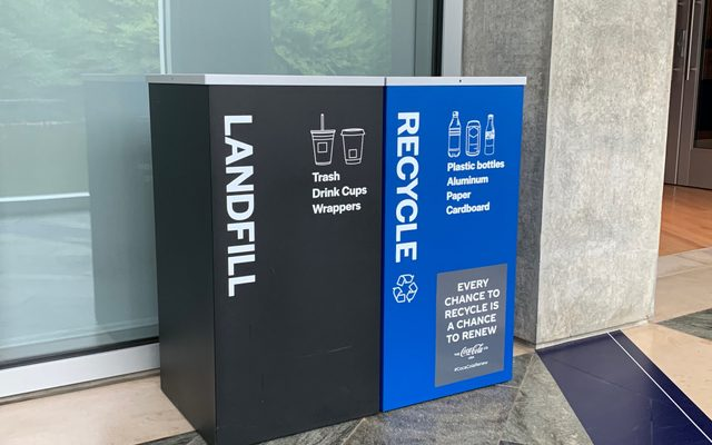 Trash can and recycling can