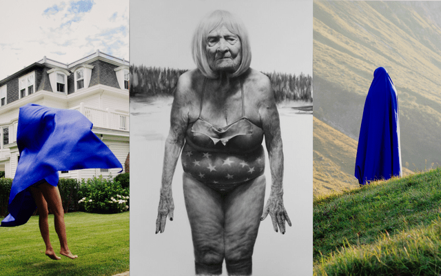 Left: Aphrodite DésiréeNavab, LandingfromSuper East/West Woman Middle: Jason BardYarmosky, Wintered Fields, 2016, Oil on canvas, 72 x 144 in., Courtesy of the artist Right: Aphrodite DésiréeNavab, World SummitfromSuper East/West Woman