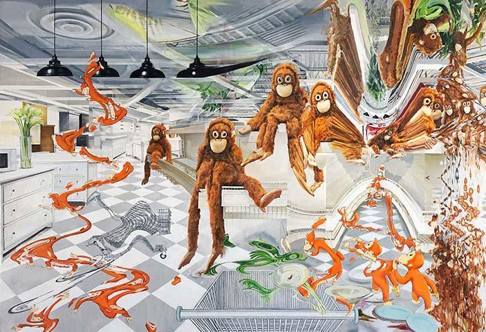 Su Su, Darwin, 2018, oil on canvas, 34 × 50 × 2 in. (86.4 × 127 × 5.1 cm), courtesy of the artist.
