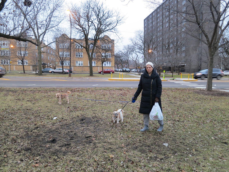 Artist Edra Soto picking up glass bottles near her residence. Photo courtesy of the artist.