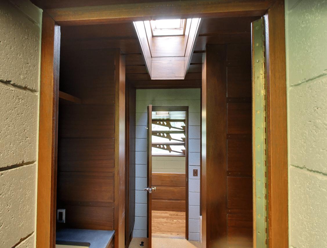 The upstairs bathroom features a skylight.