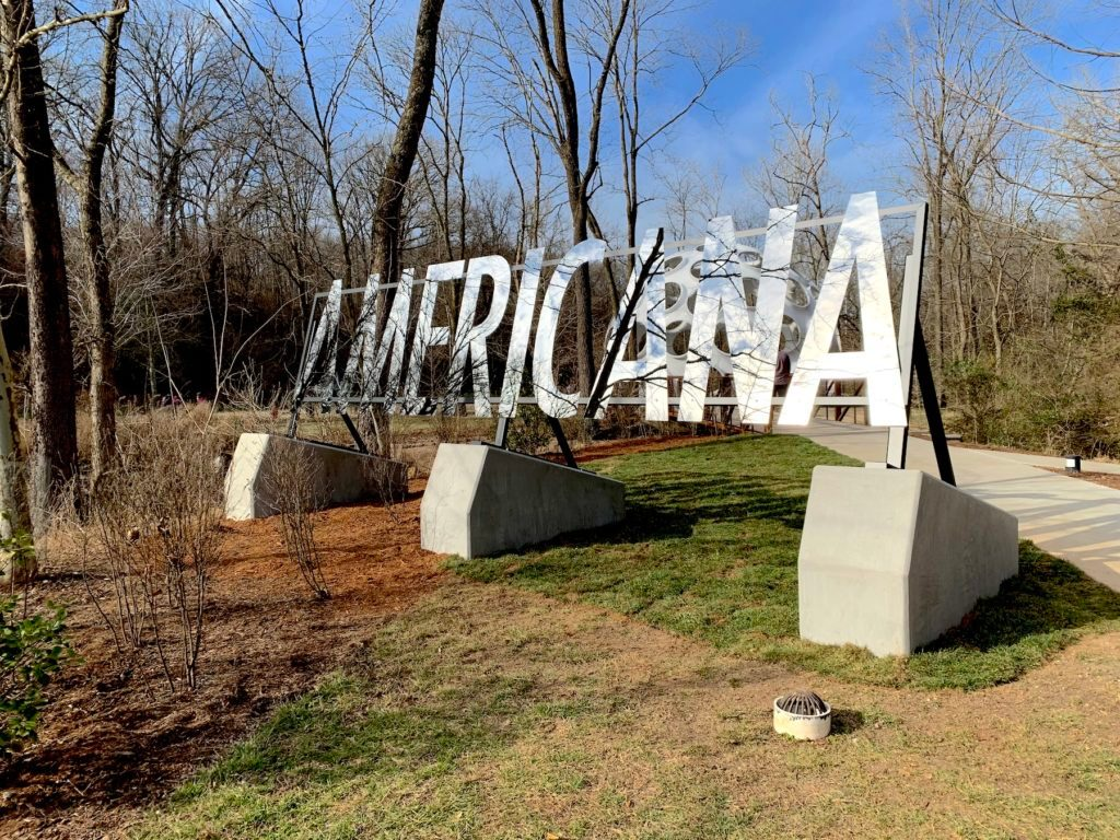 George Sanchez-Calderon, Americana, 2014/2020, polished stainless steel, 84 × 264 x 84 in., courtesy of the artist. Image by Ben Davis, Artnet.