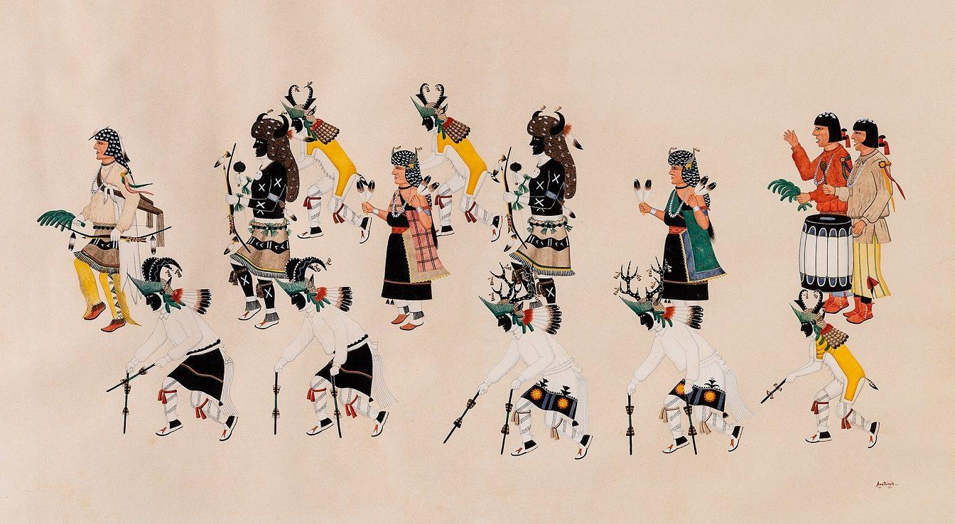 Awa Tsireh (Alfonso Roybal) (San Ildefonso Pueblo, 1898-1955), Animal Dance, c.1925-1935, Gouache on paper, 15 ¼ x 27 inches.