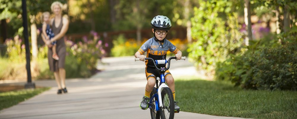 Young boy on bicycle