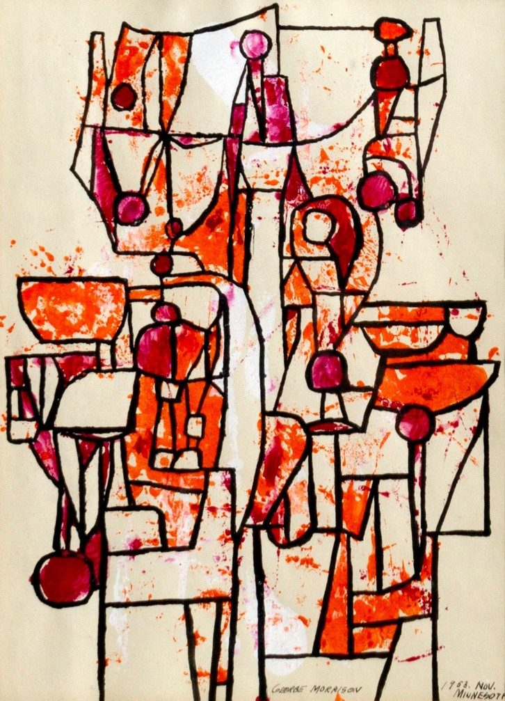 George Morrison (Chippewa, 1919-2000), Untitled, 1953, Gouache and ink on paper, 10 ½ x 7 ½ inches.