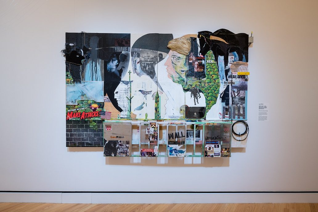 Larry Walker, Tweet, Tweet…Look Who's Here…or Aliens, Wall Spirits and Other Manifestations, 2017, diptych: Acrylic and various material on panel, 62 × 98 × 3 in., courtesy of the artist and Mason Fine Art Gallery. Photo by Ironside Photography / Stephen Ironside.