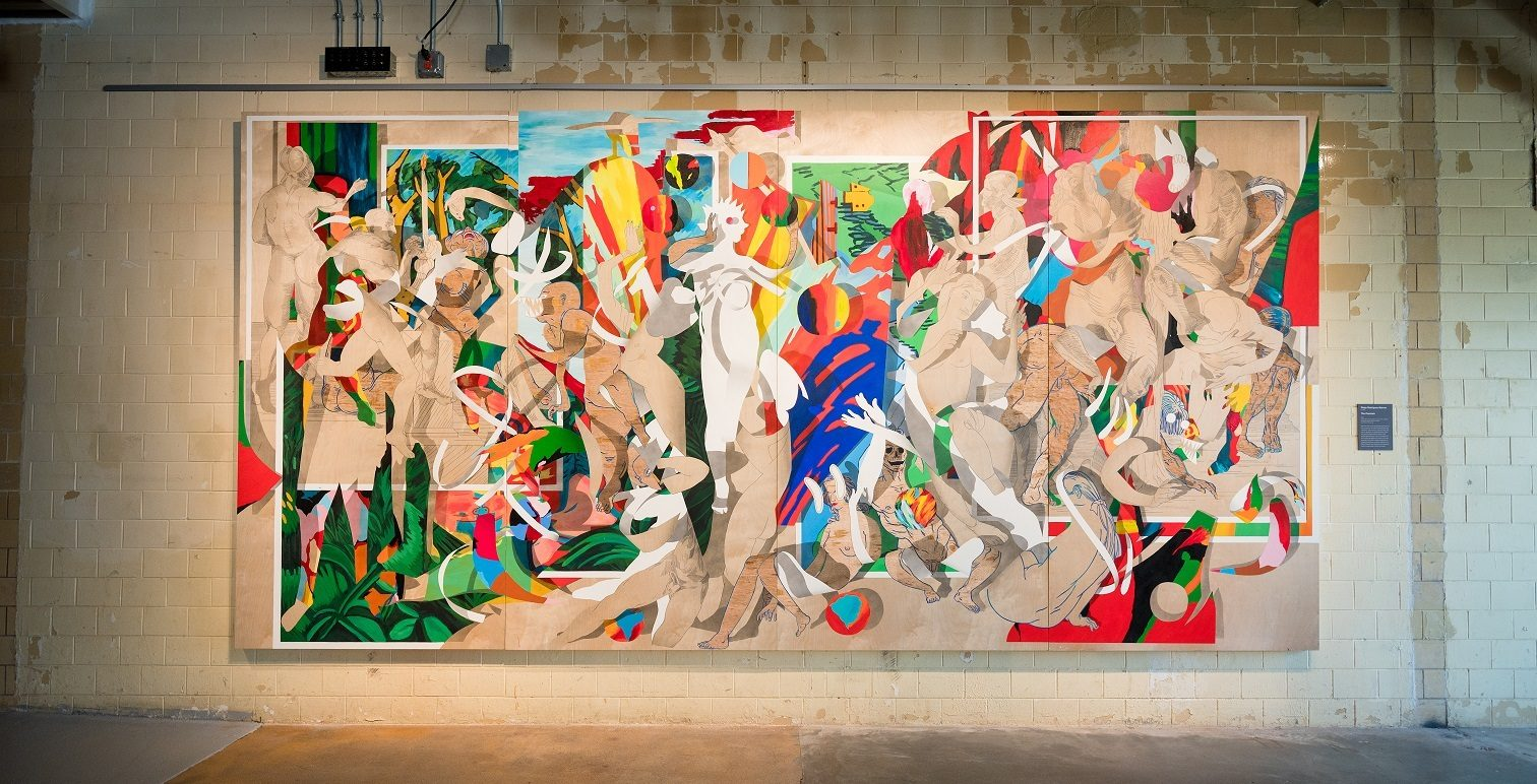 Diego Rodriguez-Warner, born 1986, The Fountain, 2019, latex paint, acrylic paint, spray paint, graphite and hand-carved relief on panel, 96 in. × 16ft. × 3 in. (243.8 × 487.7 × 7.6 cm), courtesy of the artist. Photo by Ironside Photography / Stephen Ironside.